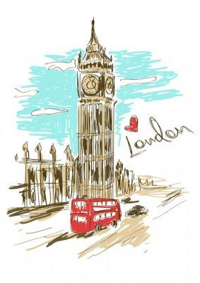 Poster Sketch illustration of Big Ben tower