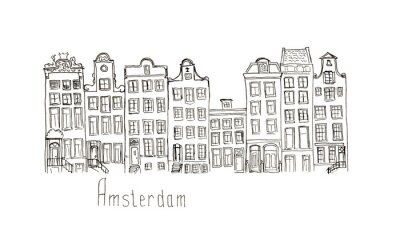 Poster Sketch Netherlands Amsterdam houses isolated lettering