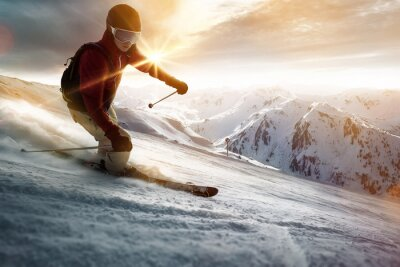 Poster Skier in a sunset setting