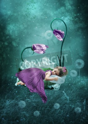 Poster Sleeping little girl in magical forest