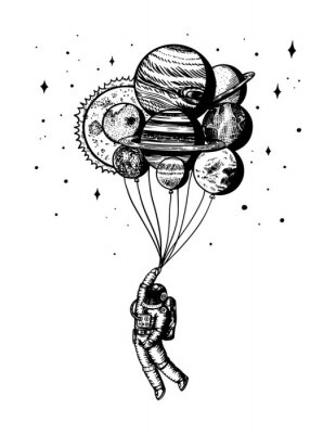 Poster Soaring Spaceman. Astronaut with planets. Balloons in space. Man in the solar system. Engraved hand drawn Old sketch in vintage style.