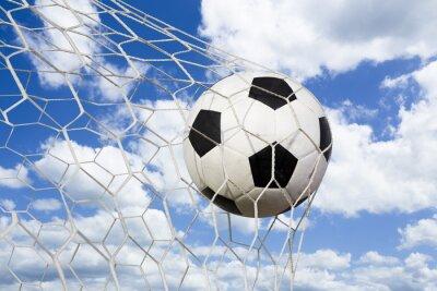 Poster soccer ball in goal net