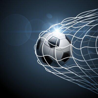 Poster Soccer ball in goal. Vector