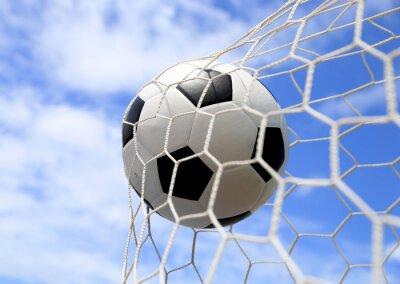 Poster soccer ball in net on blue sky