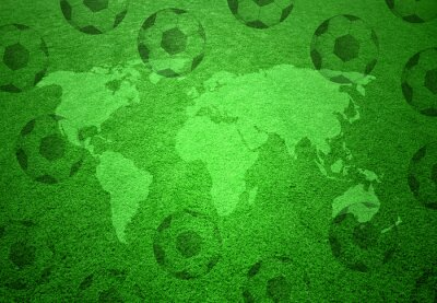 Poster Soccer grass field with world map and soccer balls pattern.