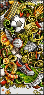 Poster Soccer hand drawn doodle banner. Cartoon detailed illustrations.