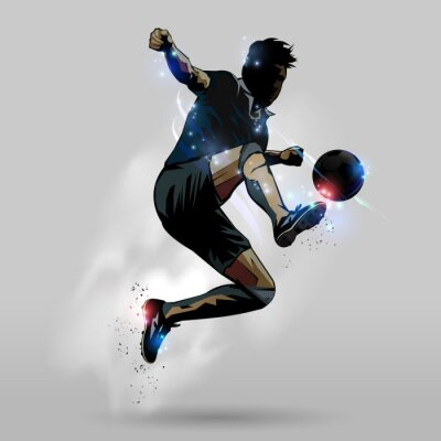 Poster Soccer jumping touch ball 02