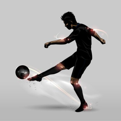 Poster soccer player half volley