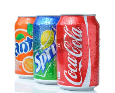 Poster SOFIA, BULGARIA - APRIL 27, 2013: Coca-Cola, Fanta and Sprite Cans Isolated On White. The three drinks produced by the Coca-Cola Company