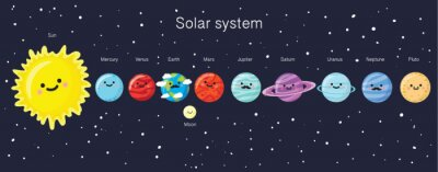 Poster Solar system with cute smiling planets, sun and moon.