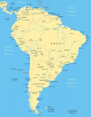 Poster South America map - highly detailed vector illustration.