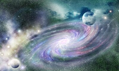 Poster spiral galaxy in universe