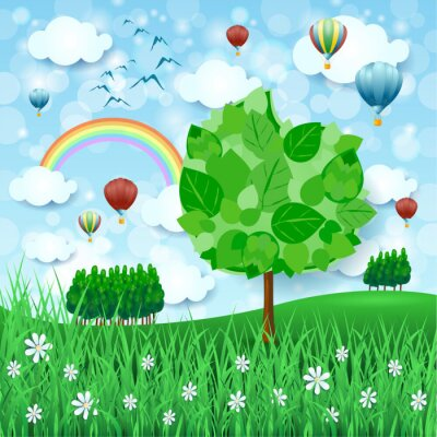 Poster Spring background with big tree and hot air balloons