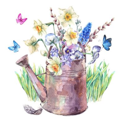 Poster Spring bouquet with daffodils, pansies, muscari and butterflies