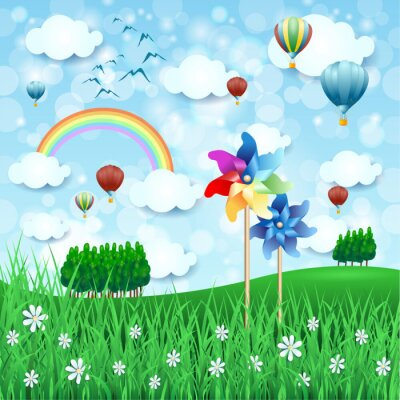 Poster Spring landscape with pinwheels and hot air balloons