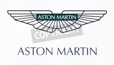 Poster St. Petersburg, Russia-February 10, 2015: Aston Martin logo on the screen . Is a famous world brand.