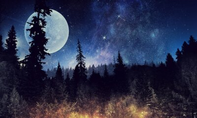 Poster Starry sky and moon. Mixed media