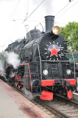 Poster Steam locomotive, front view