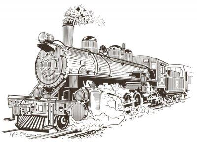 Poster steam locomotive illustration in vintage style