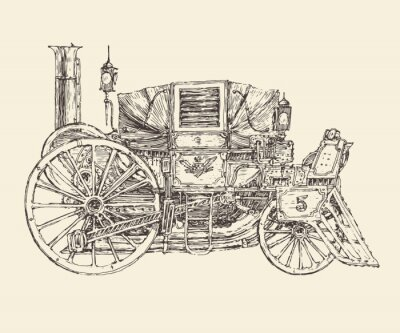 Poster Steam punk carriage, engraved style, vector illustration