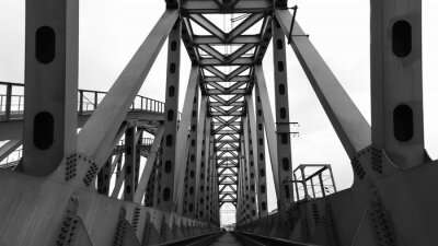 Poster steel railroad bridge
