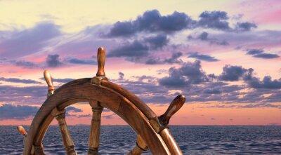 Poster Steering wheel of old sailing vessel