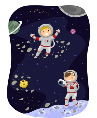 Poster Stickman Kids Outer Space Photo