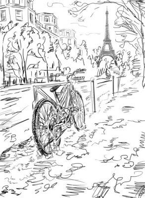 Poster Street in autumn Paris. Eiffel tower -sketch illustration
