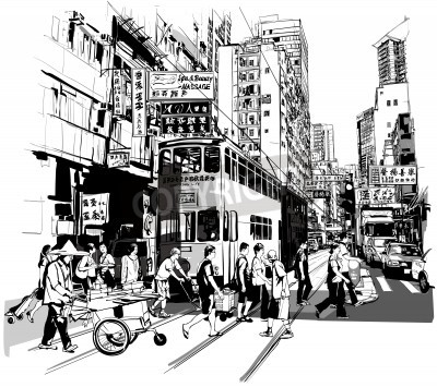 Poster Street in Hong Kong - Vector illustration (all chinese characters are fictitious)
