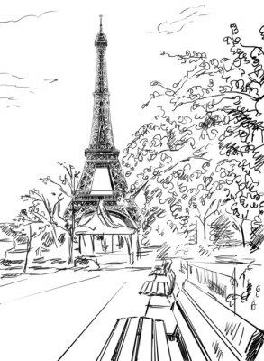 Poster Street in paris. Eiffel tower -sketch  illustration
