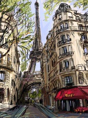 Poster Street in paris - illustration