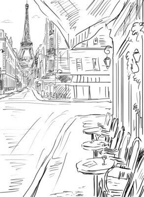Poster Street in paris -sketch  illustration