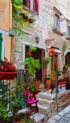 Poster Street in Roma - illustration