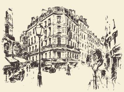 Poster Streets Paris France vintage illustration drawn