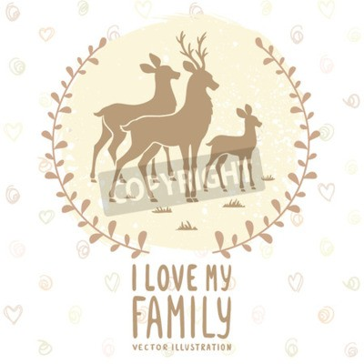 Poster Stylish card with silhouette of beautiful family deer. Vector illustration