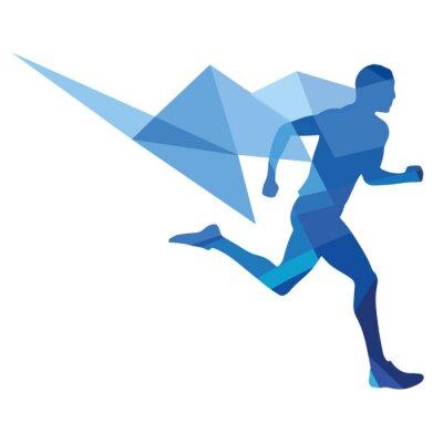 Poster Stylized runner, geometric pattern