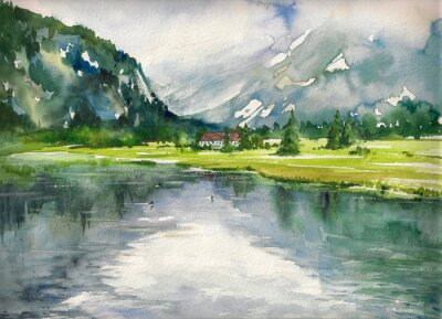 Poster Summer landscape with mountain lake painted with watercolors