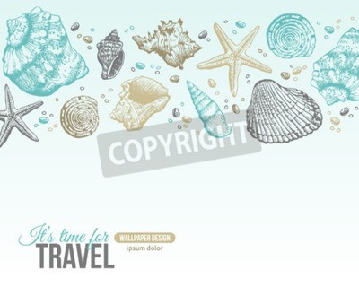 Poster Summer Sea Shells Postcard Design. Vector Background with Seashells, Sea Star and Sand. Hand Drawn Etching Style. Place for Your Text.