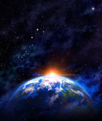 Poster sunrise over earth in outer space
