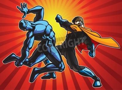 Poster Super hero and a ninja doing battle.
