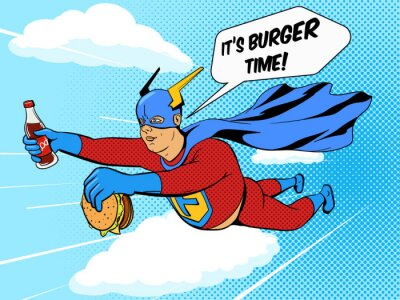 Poster Superhero fat man and burger comic book vector
