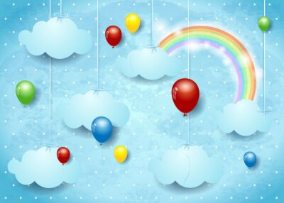 Poster Surreal cloudscape with colorful balloons