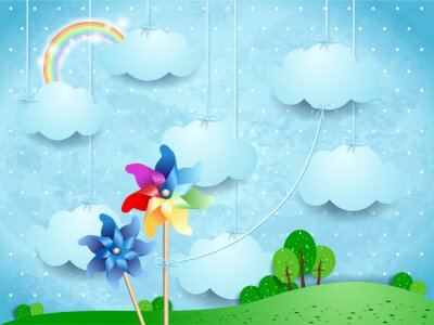 Poster Surreal landscape with pinwheels and hanging clouds