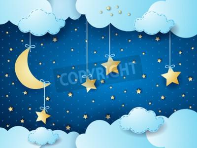 Poster Surreal night, fantasy cloud scape. Vector illustration