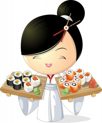 Poster sushi girl