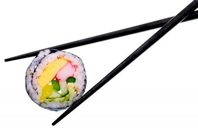 Poster Sushi roll with black chopsticks isolated on white background