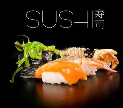 Poster Sushi set over black background