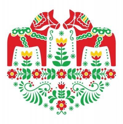Poster Swedish Dala or Daleclarian horse floral folk pattern