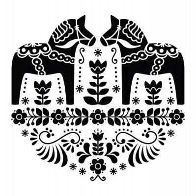 Poster Swedish Dala or Daleclarian horse folk pattern in black