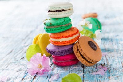 Poster Sweet and colourful french macaroons.